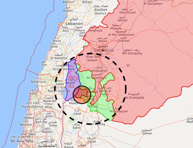 Dettaglio di una carta del sito Syria.liveuamap.com. Elaborazione a cura di Sirialibano.