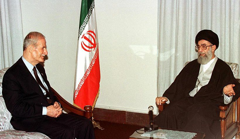 Iran's spiritual leader Ayatollah Ali Khamenei (R) meets with Syrian President Hafez al-Assad, 09 December in Tehran, on the sidelines of the Organisation of the Islamic Conference (OIC) summit. Assad said that Israel was the biggest threat facing the islamic world and warned against Israeli attempts to divide Moslem ranks. / AFP PHOTO        (Photo credit should read /AFP/Getty Images)