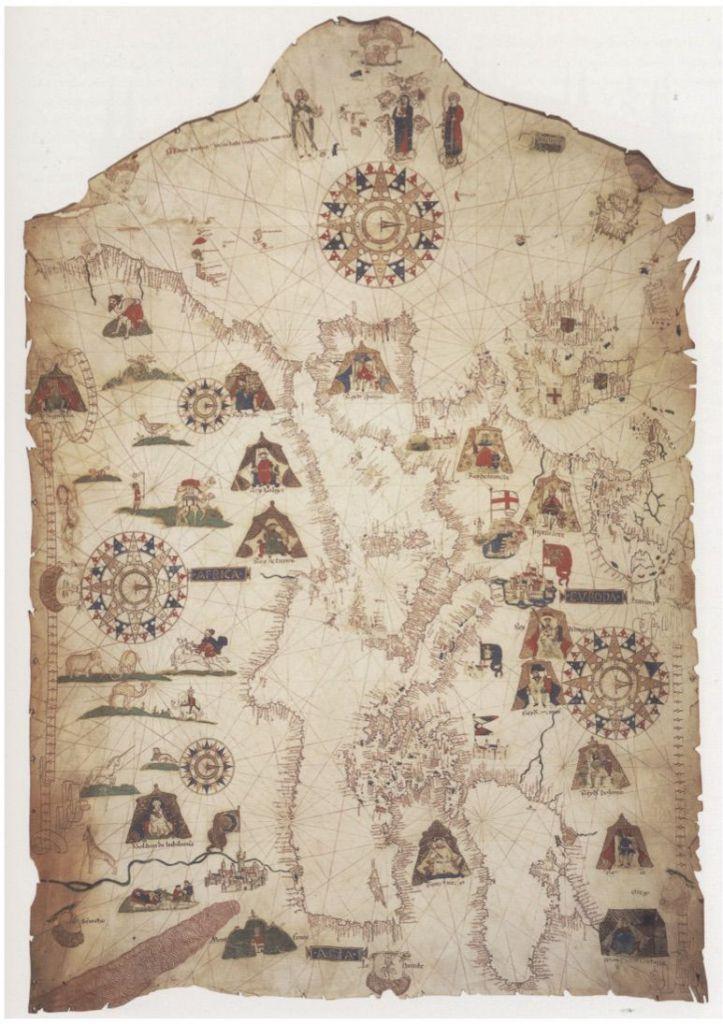 Fonte: Mateo Prunes, Carta del Mediterraneo, portolano su pergamena, 1559.