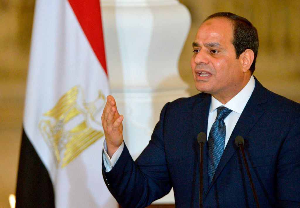 Egyptian President Abdel Fattah al-Sisi speaks at a press conference with German Chancellor Angela Merkel (unseen), following their meeting at the Presidential Palace in Cairo on March 2, 2017. / AFP PHOTO / KHALED DESOUKI        (Photo credit should read KHALED DESOUKI/AFP/Getty Images)
