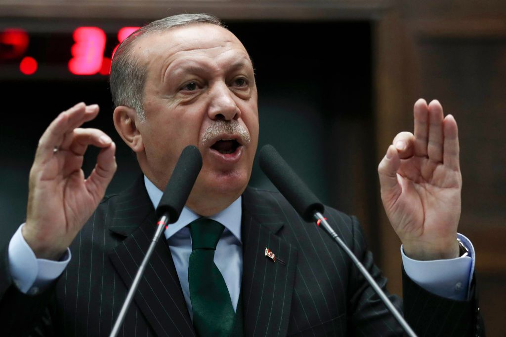 President of Turkey and Leader of the Justice and Development Party (AKP), Recep Tayyip Erdogan, gives a speech during an AK party's group meeting at the Grand National Assembly of Turkey (TBMM) in Ankara, on December 5, 2017. / AFP PHOTO / ADEM ALTAN        (Photo credit should read ADEM ALTAN/AFP/Getty Images)
