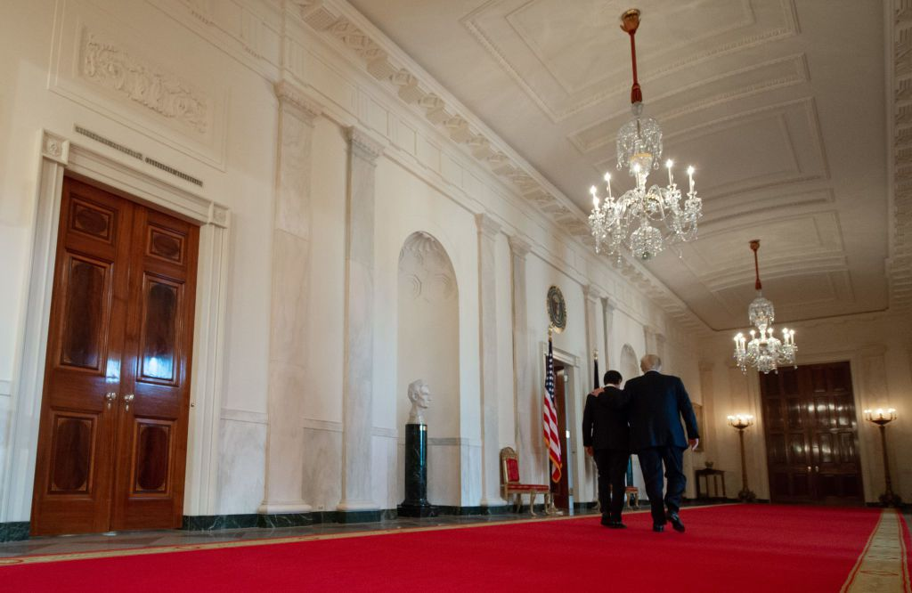 US President Donald Trump and Italian Prime Minister Giuseppe Conte leave following a joint press conference in the East Room of the White House in Washington, DC, July 30, 2018. (Photo by SAUL LOEB / AFP)        (Photo credit should read SAUL LOEB/AFP/Getty Images)