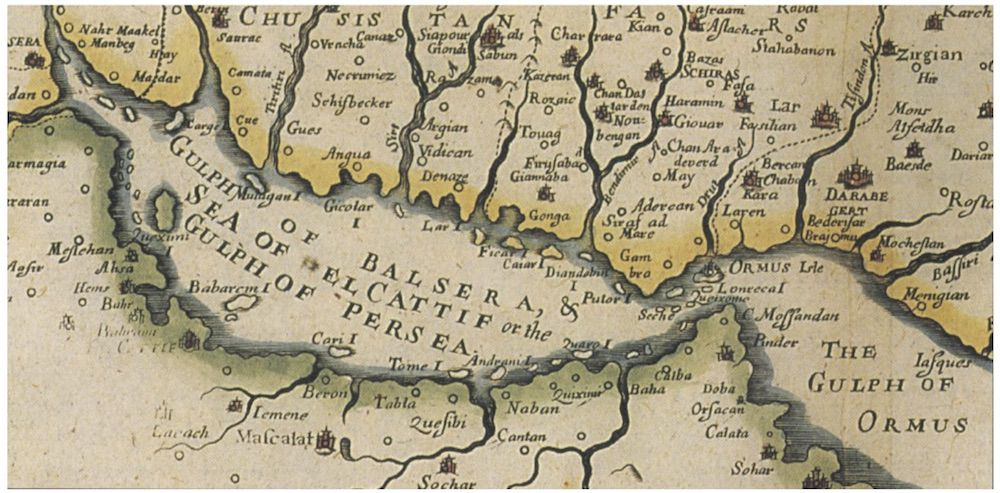 Carta selezionata da Edordo Boria: N. Sanson, R. Blome, particolare da A Mapp of the Empire of the Sophie of Persia, with its Severall Provinces, London 1670.
