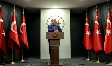 "ISTANBUL, TURKEY - APRIL 16: Turkey's President Recep Tayyip prepares to make a statement on April 16, 2017 in Ankara, Turkey. President  Erdogan declared victory in Sunday's historic referendum that will grant sweeping powers to the presidency, hailing the result as a historic decision. Results carried by the state-run Anadolu news agency showed the ""yes"" vote had about 51.3 percent compared to 48.7 percent for the ""no"" vote with nearly 99 percent of the vote counted. (Photo by Stringer/Getty Images)"