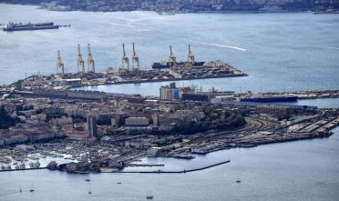 An aerial view of the commercial harbor of the northeastern city of Trieste along the Adriatic Sea on October 8, 2017.  / AFP PHOTO / Alberto PIZZOLI        (Photo credit should read ALBERTO PIZZOLI/AFP/Getty Images)