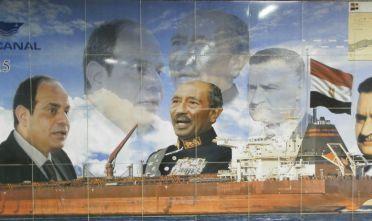 Pannello murale al Sisi, Sadat, Nasser, raddoppio canale di Suez. Metro Cairo - Egitto agosto 8/2018. Foto di ALessandro Balduzzi.