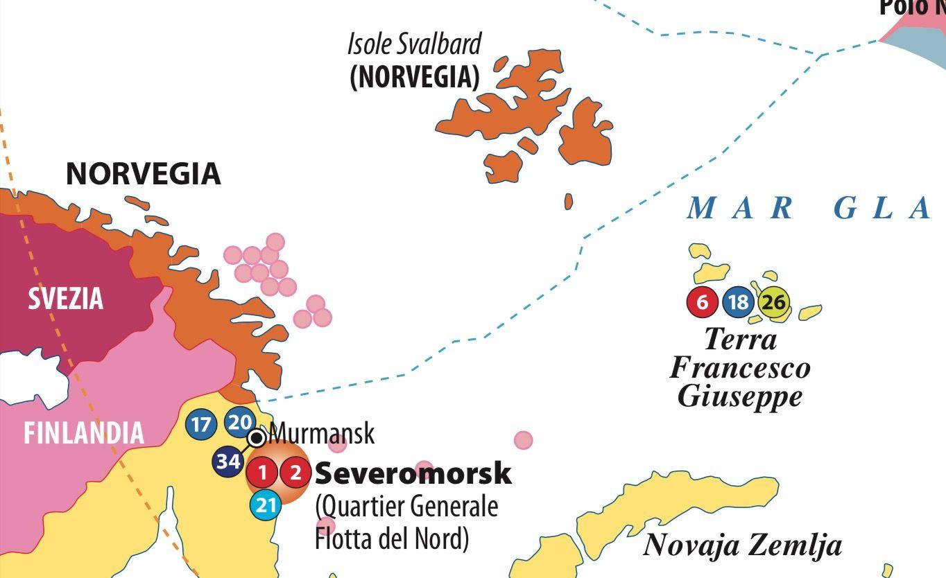 Dettaglio basi Russia Artico