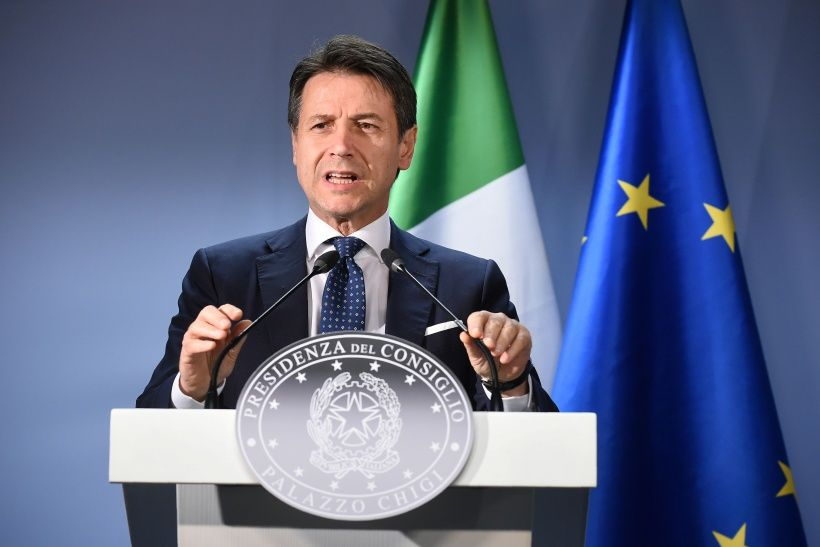 Italian Prime Minister Giuseppe Conte holds a press conference after the European Council on December 14, 2018, in Brussels. - EU leaders will approve a modest list of euro single currency reforms on December 14 that are a far cry from the vast overhaul to the European project sought by France. (Photo by JOHN THYS / AFP)        (Photo credit should read JOHN THYS/AFP/Getty Images)