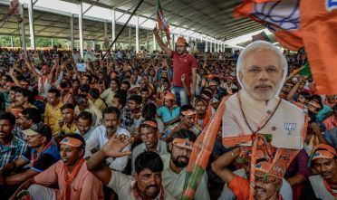 KOLKATA, INDIA - APRIL 3: The crowd at Indian Prime Minister Narendra Modi's public rally at Brigade ground on April 3, 2019 in Kolkata, India. Prime Minister Narendra Modi belongs to Hindu nationalist Bharatiya Janata Party (BJP). Around 900 million people will be casting their ballots during India's general election, which is known to be the largest in the world and scheduled from 11 April to 19 May.(Photo by Atul Loke/Getty Images)