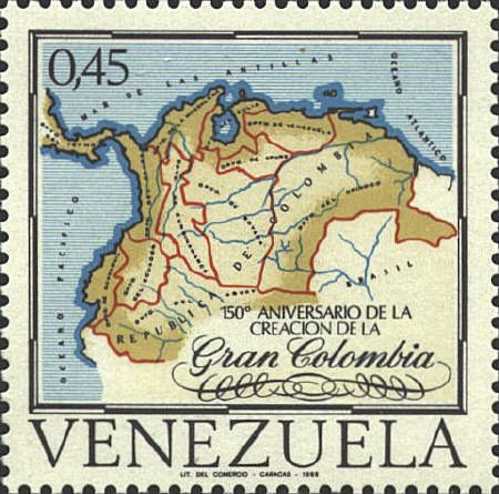 Fonte 3: 150° aniversario de la creacion de la Gran Colombia, emissione filatelica venezuelana, 1969.