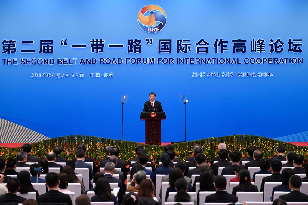 BEIJING, CHINA - APRIL 27: Chinese President Xi Jinping gives a speech at a press conference after the Belt and Road Forum at the China National Convention Center at the Yanqi Lake venue on April 27, 2019 in Beijing, China. (Photo by Wang Zhao - Pool/Getty Images)