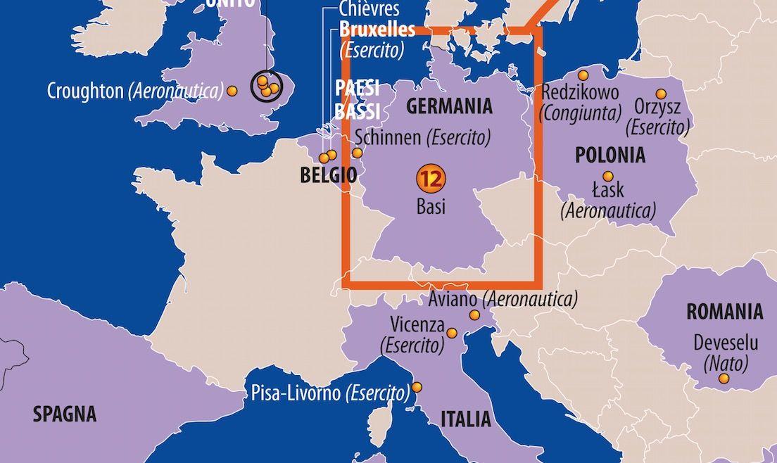 Dettaglio basi Usa Europa Mediterraneo