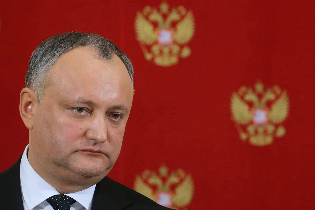 Moldovan President Igor Dodon attends a joint press conference with his Russian counterpart following their meeting at the Kremlin in Moscow on January 17, 2017. / AFP / POOL / Sergei Ilnitsky        (Photo credit should read SERGEI ILNITSKY/AFP/Getty Images)