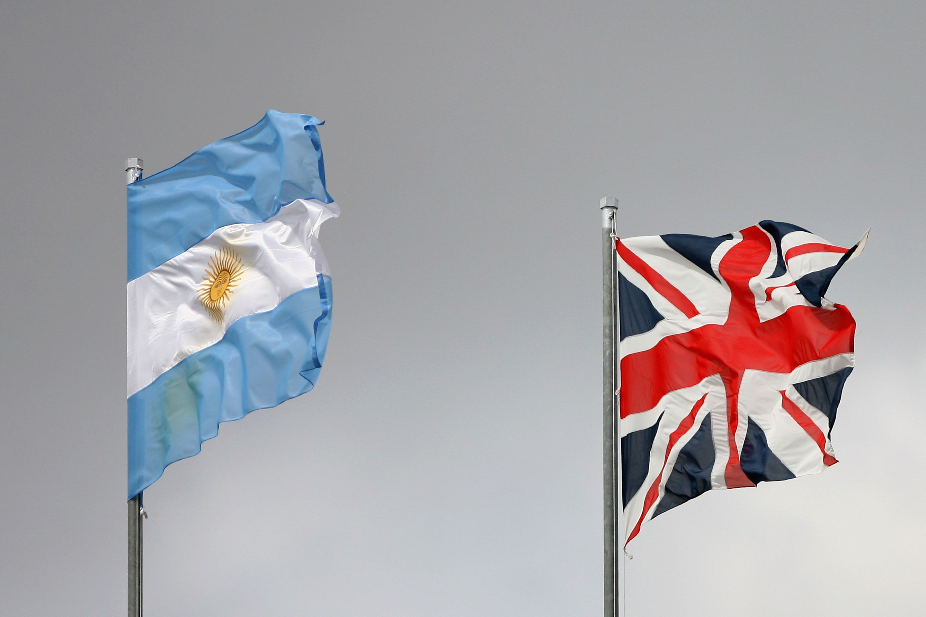 BUENOS AIRES, ARGENTINA - FEBRUARY 10:  The Argentine and British flags are present on the last day of the Davis Cup World Group match between Argentina and Great Britain at the Parque Roca Stadium on February 10, 2008 in Buenos Aires, Argentina.  (Photo by Julian Finney/Getty Images)
