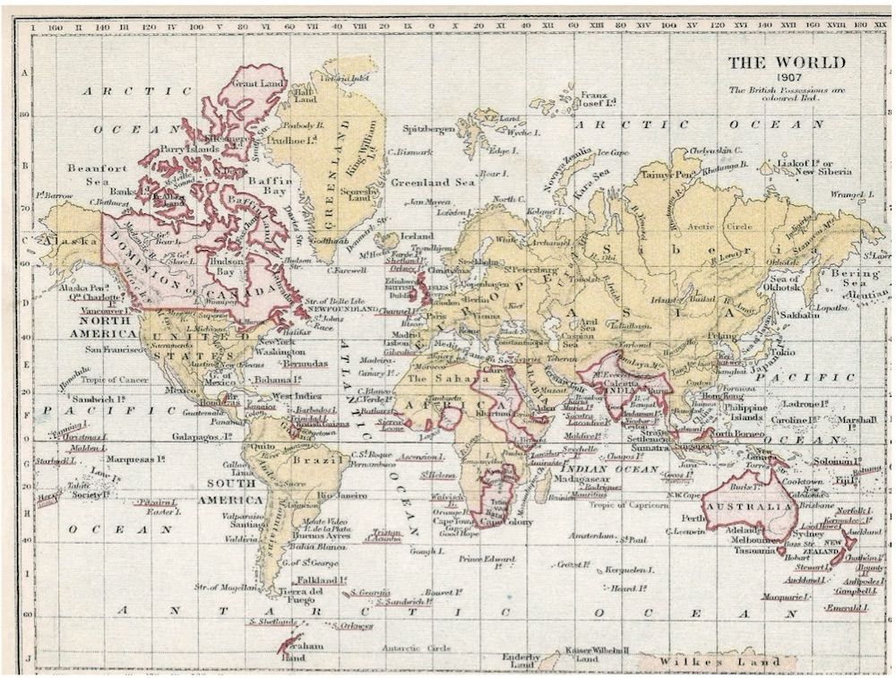Fonte 1: S.R. Gardiner, «The World», in A School Atlas of English History, London-New York 1907, Longmans Green & Co.