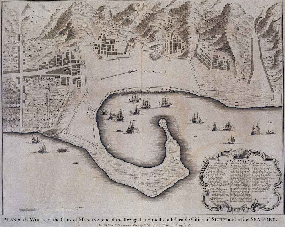 Fonte: J. Basire, «Plan of the Works of the City of Messina, one of the strongest and most considerable Cities of Sicily, and a fine Sea-Port», in P. Rapin de Thoyras, The History of England, London 1743-1745, Knapton.