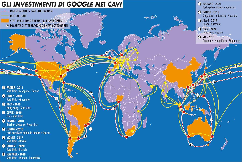Gli investimenti di google nei cavi