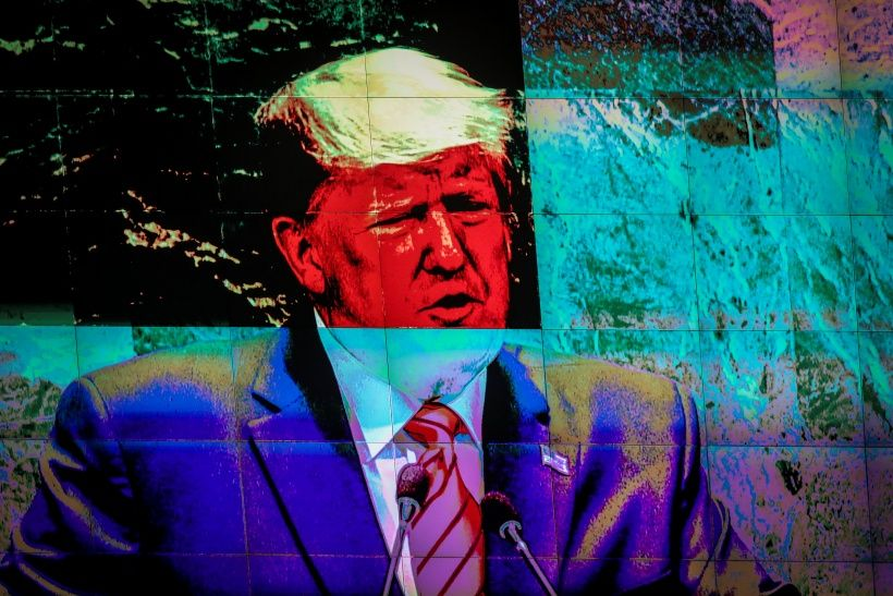 NEW YORK, NY - SEPTEMBER 24:  Displayed on a monitor, U.S. President Donald Trump addresses the United Nations General Assembly at UN headquarters on September 24, 2019 in New York City. World leaders from across the globe are gathered at the 74th session of the UN General Assembly, amid crises ranging from climate change to possible conflict between Iran and the United States. (Photo by Drew Angerer/Getty Images)