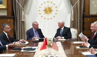 ANKARA, TURKEY - OCTOBER 17: In this handout image provided by the Turkish presidency, Turkish President Recep Tayyip Erdogan meets with U.S. Vice President Mike Pence, Secretary of State Mike Pompeo (2nd R), National Security Adviser Robert C. O'Brien (not pictured)  and the American Ambassador to Turkey James Jeffrey (not pictured) at Presidential Complex in Ankara, Turkey on October 17, 2019. (Photo by Murat Kula/Turkish Presidency via Getty Images)