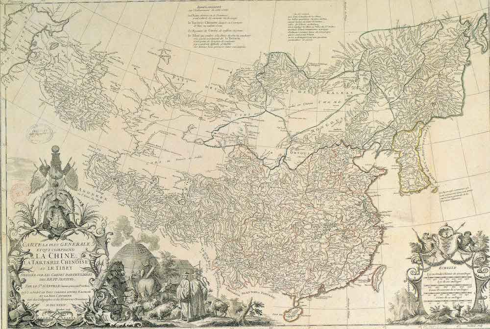 Fonte 4: J.-B. Bourguignon d'AnviLLe, «Carte la plus générale et qui comprend la Chine, la Tartarie chinoise et le Tibet, dressée sur les cartes par- ticulières des jésuites», in Description géographique, historique, chronologique, poli- tique, et physique de l'empire de la Chine et de la Tartarie chinoise, Paris 1734, Le Mercier.