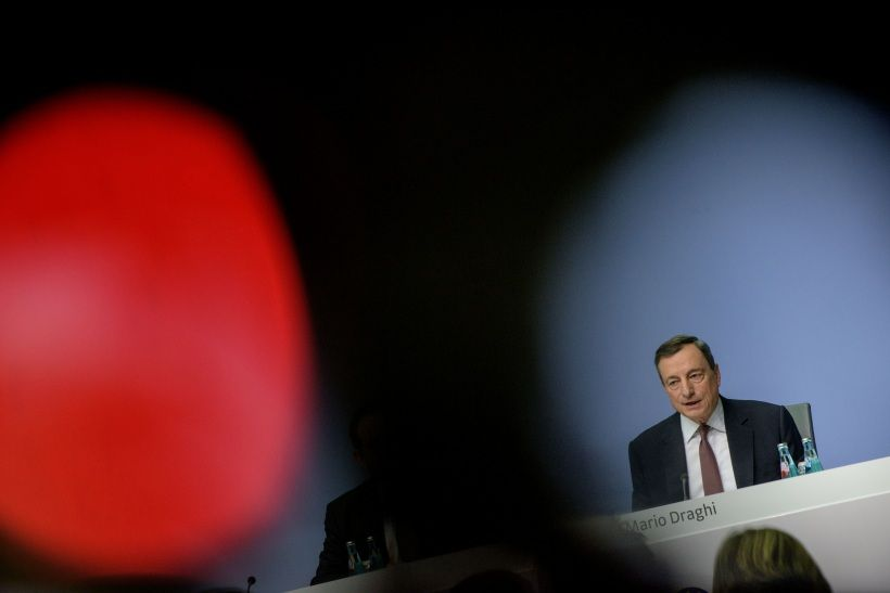 FRANKFURT AM MAIN, GERMANY - DECEMBER 14:  (Editors Note: The picture has been taken with a TV camera in front.) Mario Draghi, President of the European Central Bank, speaks to the media following a meeting of the ECB Governing Council on December 14, 2017 in Frankfurt, Germany. Today's was the last meeting of the year and comes on the heals of new economic data that show a strong and ongoing recovery for the euro zone, with 2.6% growth in the third quarter of 2017. (Photo by Thomas Lohnes/Getty Images)