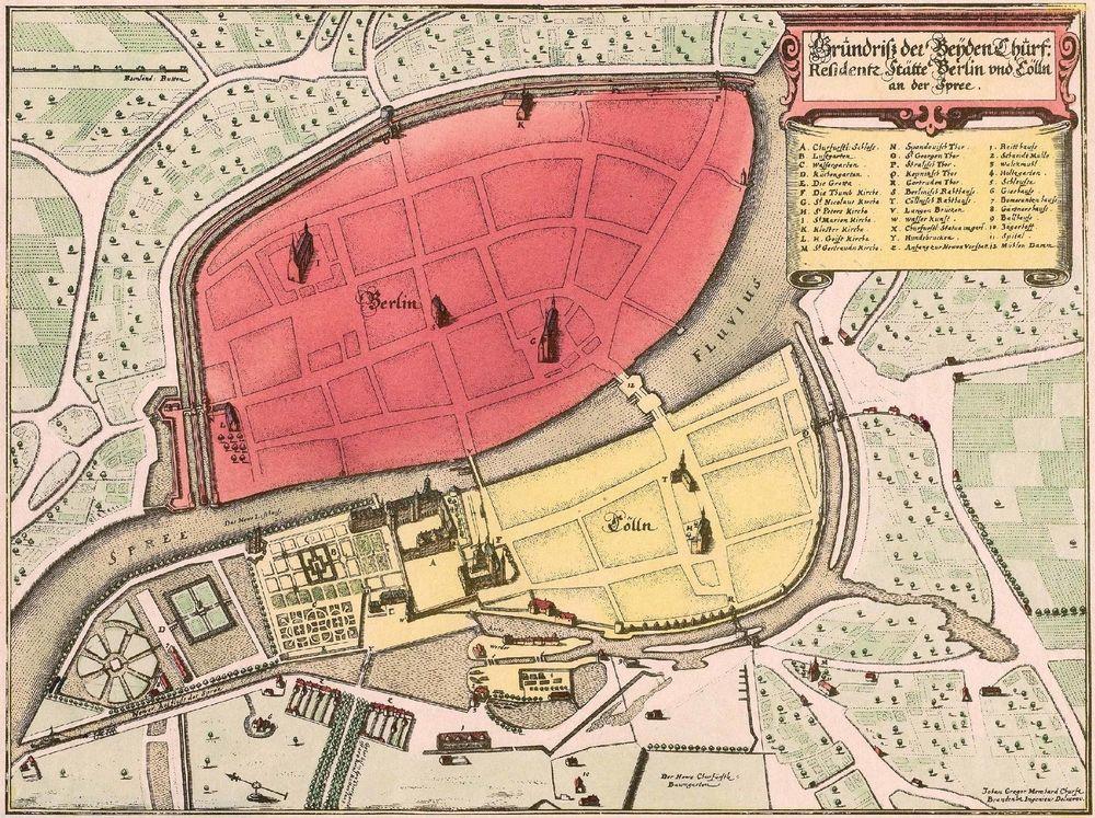 Fonte: J.G. Memhardt, Grundriß der Beyden Churf. Residentz Stätte Berlin und Cölln an der Spree (Pianta delle due residenze elettorali di Berlino e Kölln sulla Sprea), 1652.