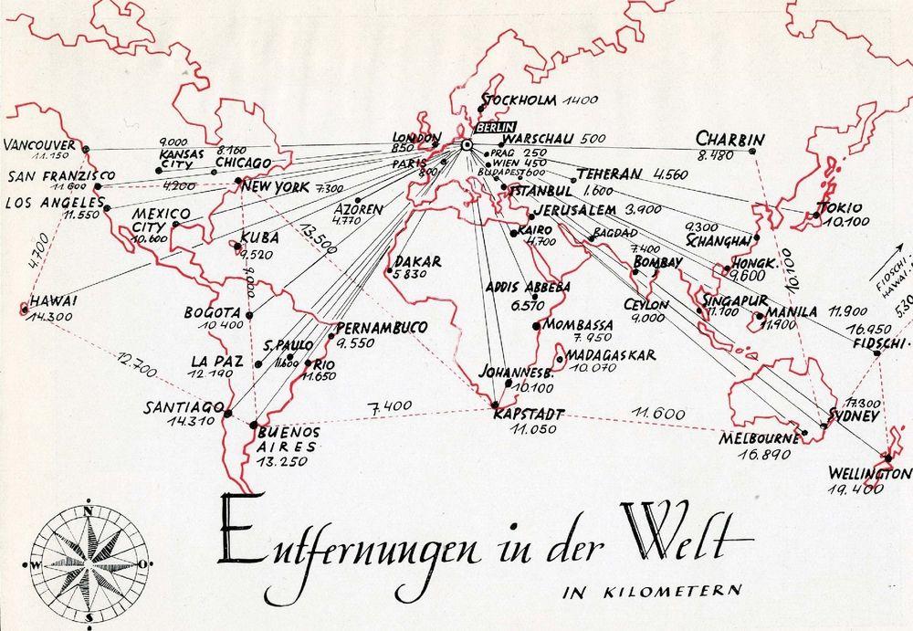 Fonte: G. Wiesenthal, Entfernungen in der Welt (Distanze nel mondo), da Philo-Atlas. Handbuch für die Jüdische Auswanderung, Philo Jüdischer Buchverlag, Berlino, 1938, tav. 20.