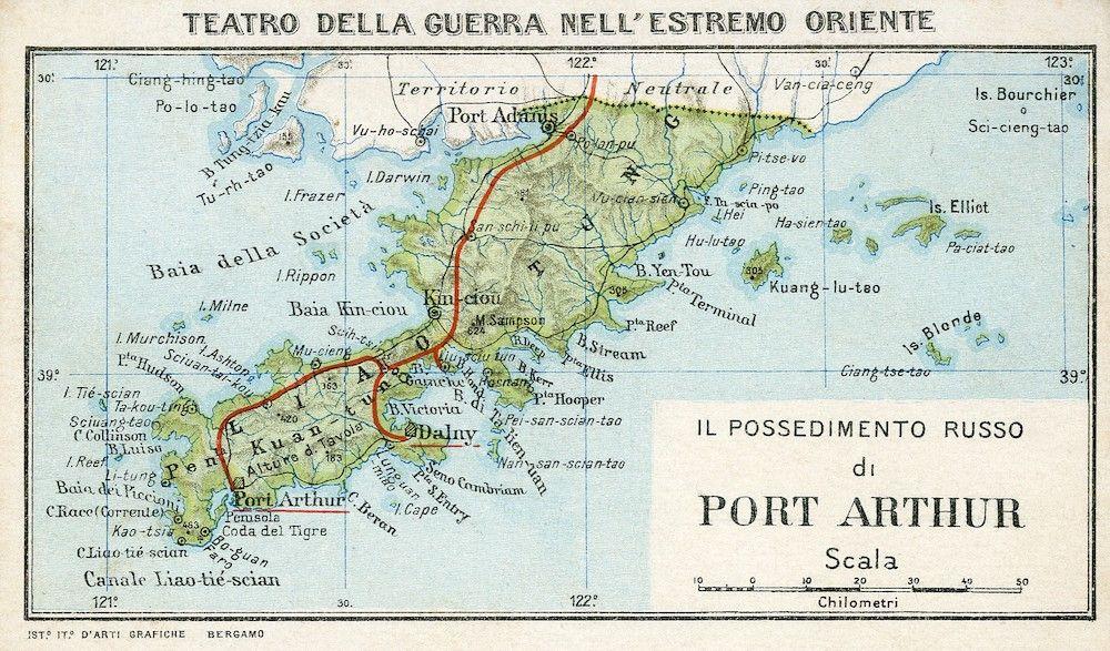 Fonte carta 3: Il possedimento russo di Port Arthur, cartolina della serie «Teatro della guerra nell'Estremo Oriente», Istituto d'Arti Grafiche di Bergamo, 1904 ca.