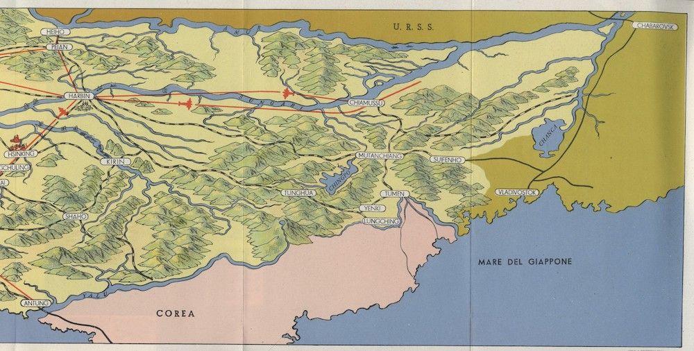 Fonte carta 4: Manciukuò, carta d'apertura di un opuscolo di propaganda giapponese, Roma 1940 ca., Staderini.
