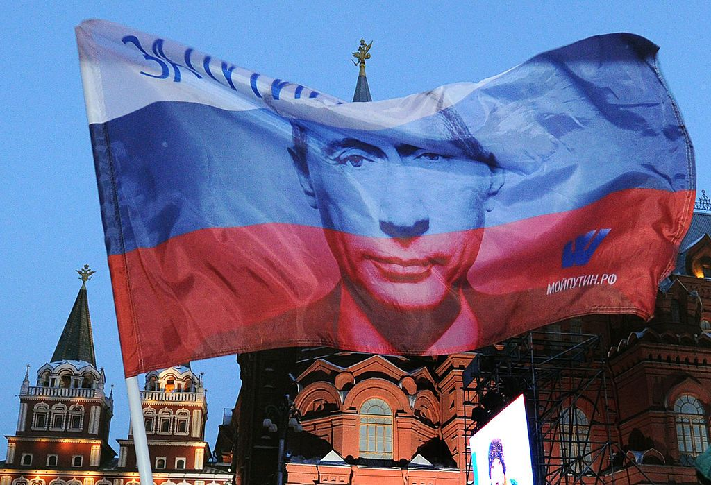 A Russian flag featuring  Prime Minister