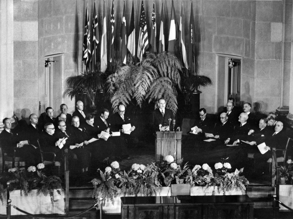 Inizio dei lavori della Nato, aprile 1949 (Photo credit should read AFP/AFP via Getty Images).