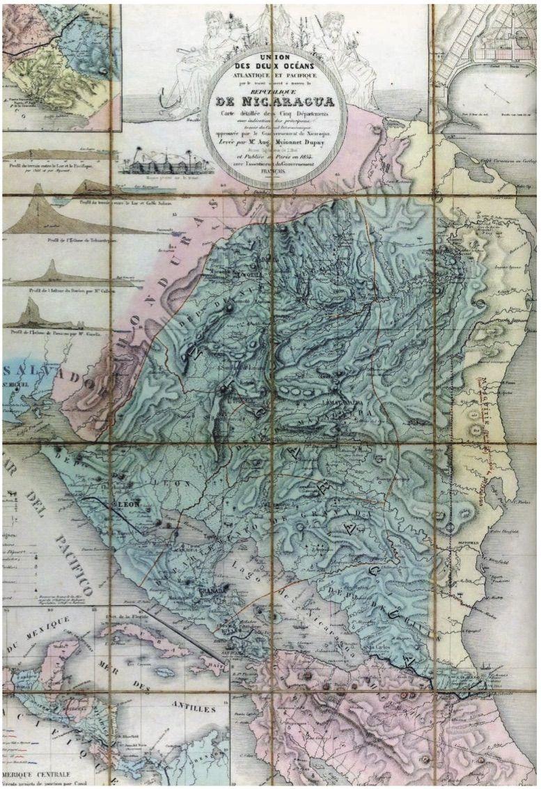 Fonte 3: A. Myionnet-Dupuy, Union des Deux Océans Atlantique et Pacifique, par le transit ouvert à travers la Republique de Nicaragua, Paris 1855, Andriveau-Goujon.