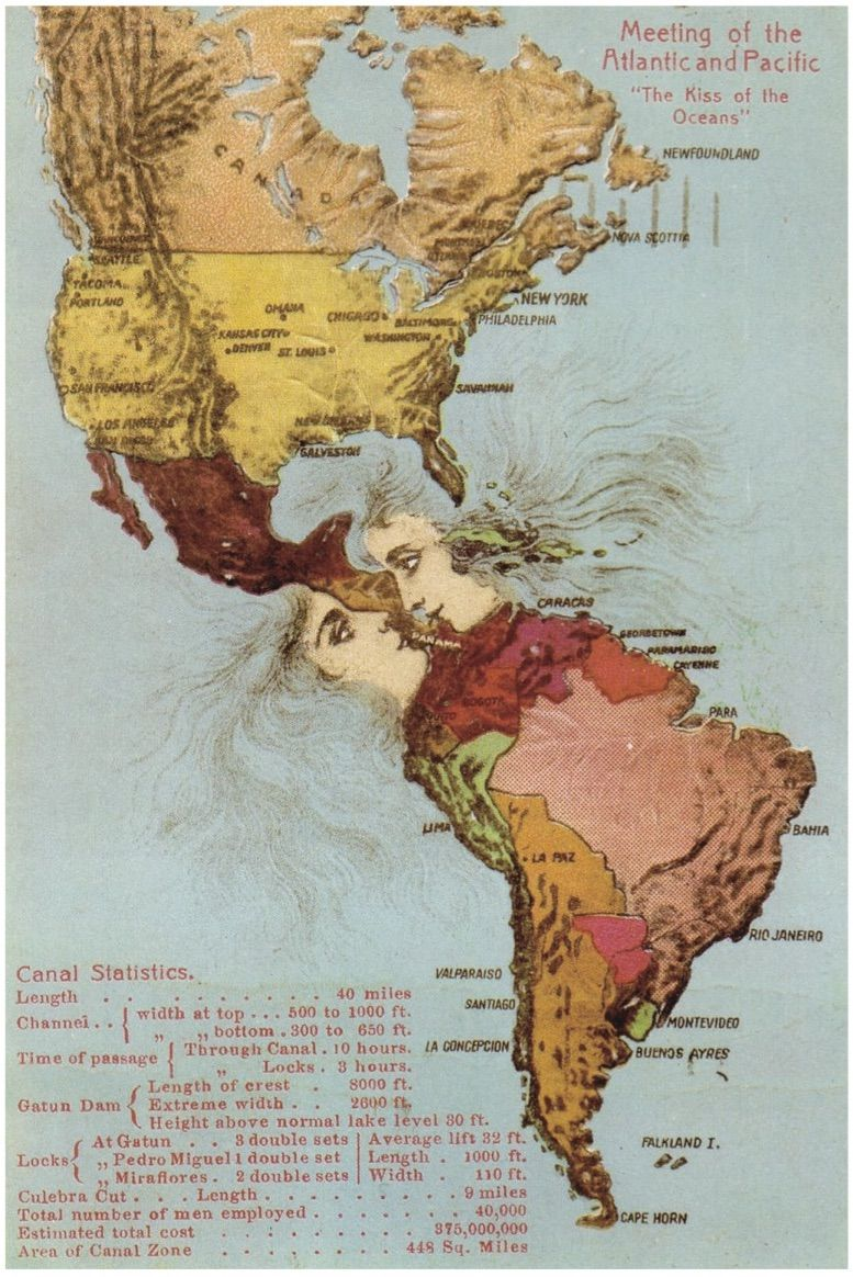 Fonte 4: Meeting of the Atlantic and the Pacific. «The Kiss of the Oceans», cartolina in rilievo, Isaac L. Maduro jr., Panama 1915 ca.