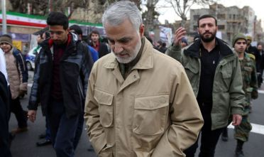 """The commander of the Iranian Revolutionary Guard's Quds Force, General Qassem Soleimani, attends celebrations marking the 37th anniversary of the Islamic revolution on February 11, 2016 in Tehran. - Iranians waved """"Death to America"""" banners and took selfies with a ballistic missile as they marked 37 years since the Islamic revolution, weeks after Iran finalised a nuclear deal with world powers. (Photo by STR / AFP) (Photo by STR/AFP via Getty Images)"""