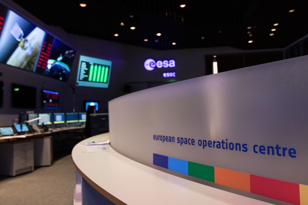 A picture taken on February 7, 2020, shows the main control room of the European Space Operations Centre (ESOC) of the European Space Agency (ESA) in Darmstadt, western Germany. (Photo by Yann Schreiber / AFP) (Photo by YANN SCHREIBER/AFP via Getty Images)