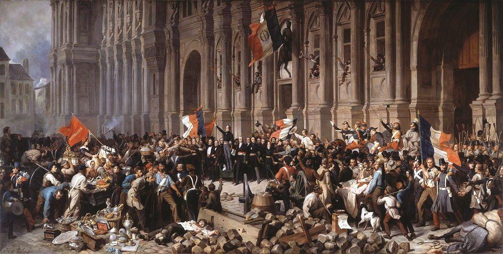 H.F.E. Philippoteaux, Lamartine devant l'Hôtel de Ville de Paris le 25 février 1848 refuse le drapeau rouge