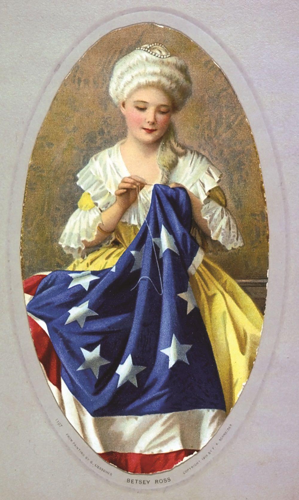 G. Liebscher, Betsy Ross sewing flag, 1908