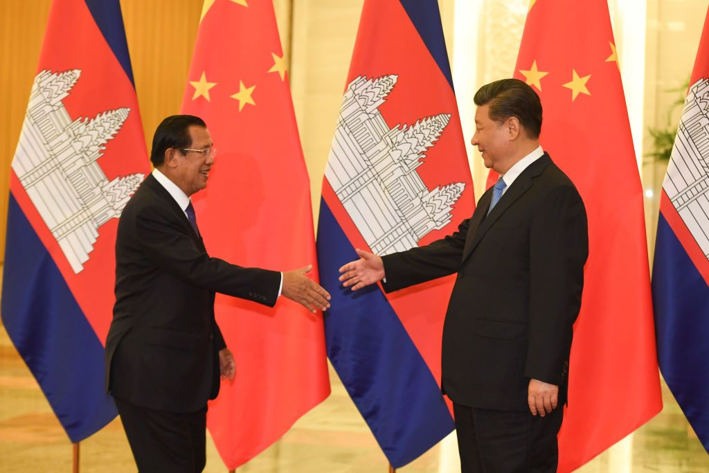 BEIJING, CHINA - APRIL 29: Cambodia's Prime Minister Hun Sen arrives to meet with China's President Xi Jinping at the Great Hall of the People on April 29, 2019 in Beijing, China. (Photo by Madoka Ikegami - Pool/Getty Images)