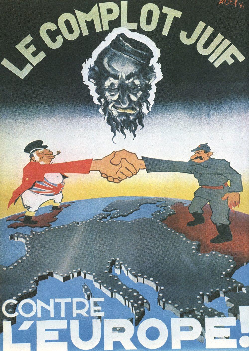 Fonte figura 3: Il complotto ebraico contro l'Europa!, manifesto antisemita diffuso dai nazisti nella Francia di Vichy, 1942 circa.