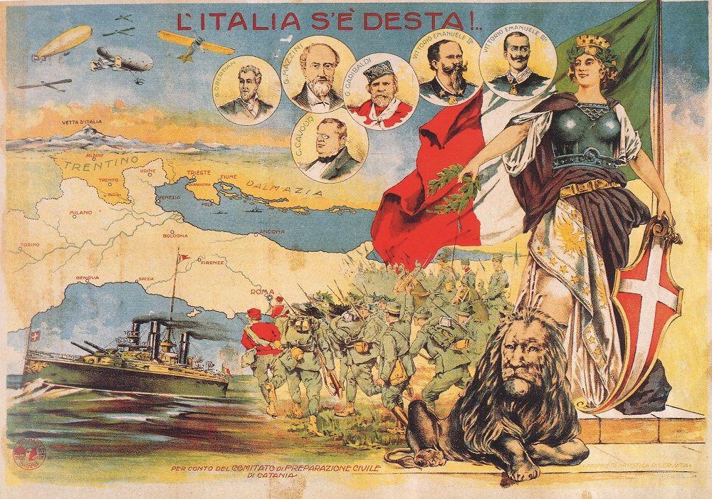 Fonte figura 4: L'Italia s'è desta!, volantino edito «per conto del Comitato di preparazione civile di Catania», Catania, 1915 circa, Mazzoleni.