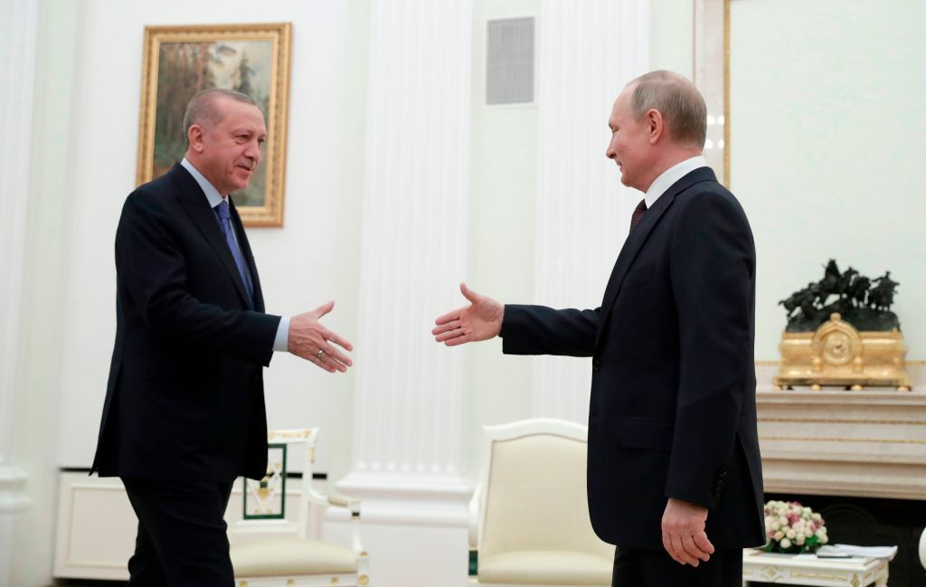 Russian President Vladimir Putin meets with his Turkish counterpart Recep Tayyip Erdogan at the Kremlin in Moscow on March 5, 2020. (Photo by Pavel Golovkin / POOL / AFP) (Photo by PAVEL GOLOVKIN/POOL/AFP via Getty Images)