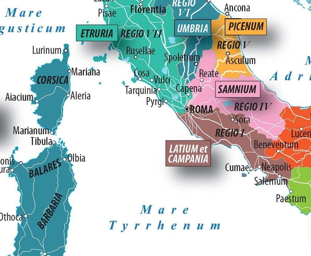 Regioni Cartina Italia Centrale.Carta Le Regioni Dell Italia Augustea Limes