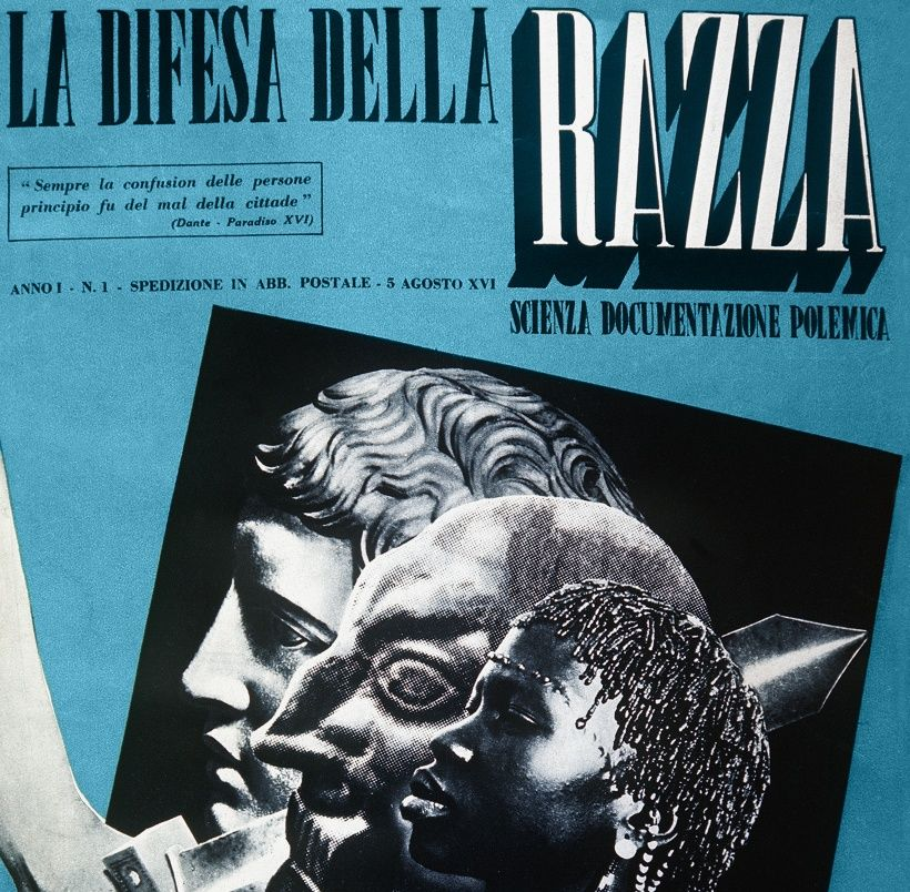 The first issue of the magazine 'La Difesa della Razza' or  'The Defense of the Race': edited by Telesio Interlandi, released on 5 August 1938 at a price of ITL 1. The cover image is very explicit: a sword drastically separates a classical profile from two Jewish and African ones, Italy, Rome, August 5, 1938. (Photo by Fototeca Gilardi/Getty Images).