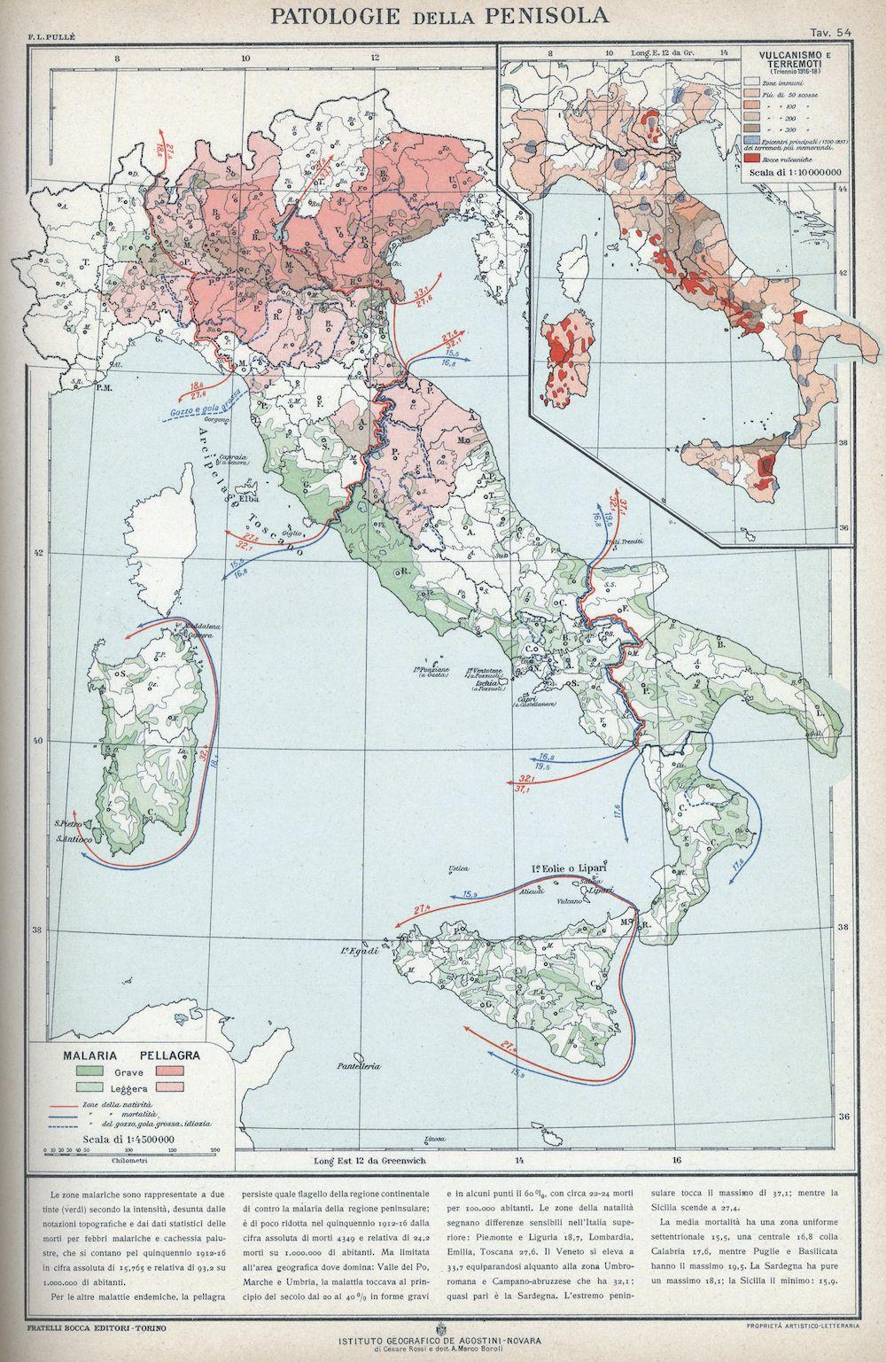 «Patologie della penisola», da F.L. Pullé, Italia. Genti e favelle. Atlante, Torino 1927, Bocca, cartografia Istituto Geografico De Agostini, tav. 54.