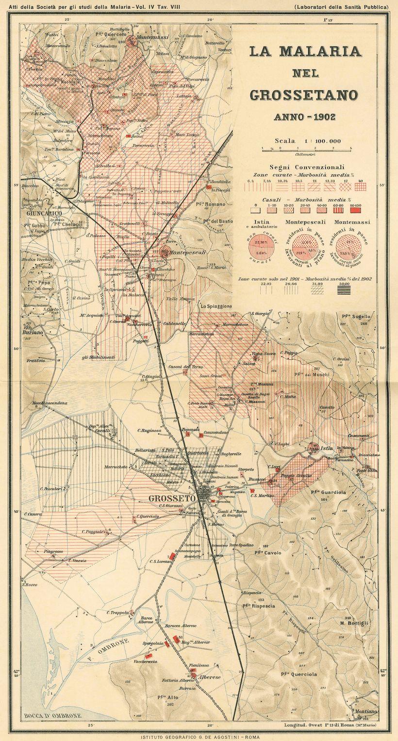 «La malaria nel Grossetano. Anno 1902», da Atti della Società per gli Studi della Malaria, vol. IV, tav. VIII, Roma 1903, cartografia Istituto Geografico De Agostini.