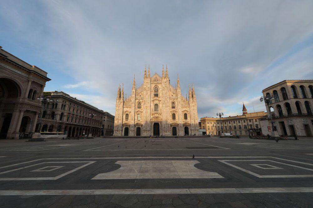 Piazza Duomo ai tempi del coronavirus, aprile 2020 (Photo by Vincenzo Lombardo/Getty Images)