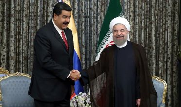 TEHRAN, IRAN - OCTOBER 22: Iranian President Hassan Rohani (R) shakes hands with Venezuelan President Nicolas Maduro (L) at Sadabad Complex in Tehran, Iran on October 22, 2016. (Photo by Pool / Iran Presidency/Anadolu Agency/Getty Images)