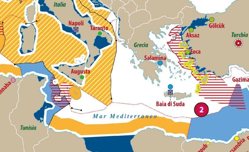 Cartina Geografica Mediterraneo Orientale.Carta Del Mare Mediterraneo Conteso Limes