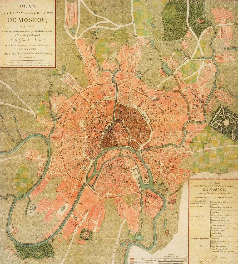 Fonte fig. 1: P. Chanlaire, Ch. Picquet, Plan de la ville et des Faubourgs de Moscou, indiquant d'après les reinsegnemens fournís par des Officiers attachés à l'État Major général Impérial de la Grande Armée, les parties de cette Ville, que les Russes ont incendiées lors de l'Entrée de S.M. l'Empereur Napoléon le 14 Septembre 1812, Paris 1812 ca.