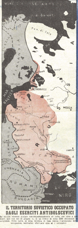 Fonte fig. 2: «Il territorio sovietico occupato dagli eserciti antibolscevici», La Tribuna illustrata, 14/9/1941.